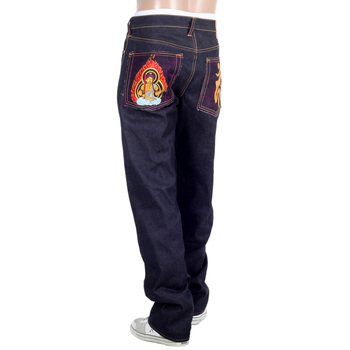 RMC Jeans Authentic FUDOUMYOUOU YEAR OF THE ROOSTER Embroidered Vintage Cut Raw Denim Jeans REDM9075
