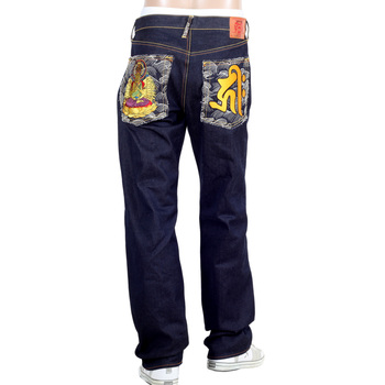 RMC Authentic Senji Kannon Bosatu YEAR OF THE RAT Embroidered Vintage Dark Indigo Raw Selvedge Jeans REDM9077