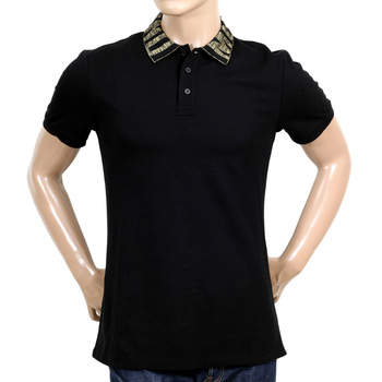 Mens Black Three-Buttoned Regular Fit Polo Shirt with Gold Logo Ribbed Collar by Moschino MOSM5343