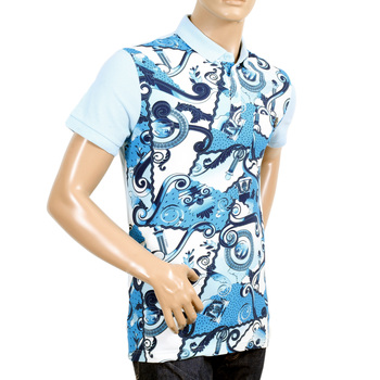 Mens Olympus Printed Blue Polo Shirt with 3 Button Placket and Plain Sky Blue Back by Versace Jeans VERS6166