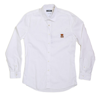 Moschino White Long Sleeve Slim Fit Teddy Bear Embroidered Shirt with Soft Collar and Rounded Tail MOSM5331