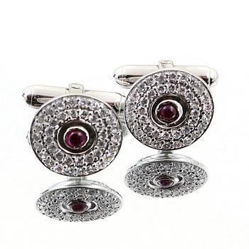 Yoropiko diamond and ruby custom made cufflinks in gift box YOROCUFF2402a