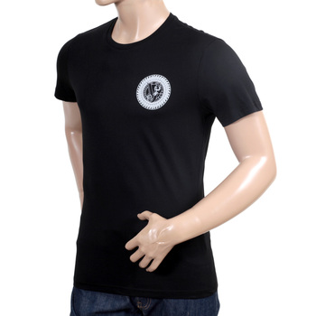 Versace Jeans White Logo Printed Cotton Short Sleeve Black Crew Neck T Shirt with Slimmer Fit VERS6160