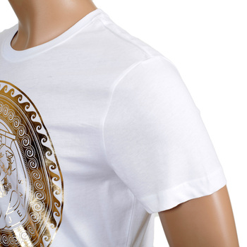 Versace Jeans Cotton Made Gold Chest Logo Printed Short Sleeve T Shirt in White VERS6153