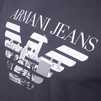 Classic Fit Crew Neck Short Sleeve T Shirt in Blue by Armani Jeans with Printed Logo in White AJM6001
