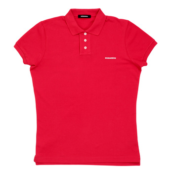 Dsquared2 Red 3 Button Design Short Sleeve Polo Shirt with Sleeve Cuffs and Ribbed Collar DSQ6286