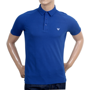 Armani Jeans Regular Fit Blue Raglan Short Sleeve Polo Shirt with Small Collar and Applique Chest Logo AJM6011