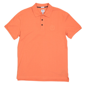 Mens Giorgio Armani Collezioni Short Sleeve Polo Shirt in Orange with Ribbed Collar and Sleeve Cuffs GAM5961