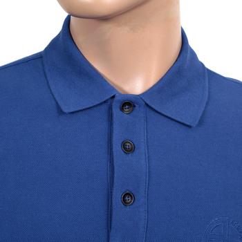 Giorgio Armani Collezioni Short Sleeve Blue Polo Shirt with Self Coloured Embroidered Chest Logo GAM5964