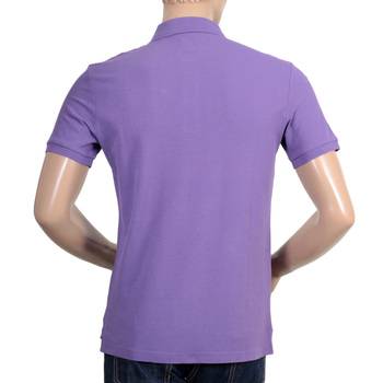 Mens Regular Fit Three Button Short Sleeve Cotton Polo Shirt in Violet by Giorgio Armani Collezioni GAM5963