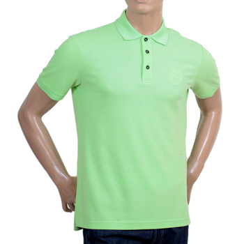 Giorgio Armani Collezioni Short Sleeve Polo Shirt in Light Green with Ribbed Collar and Sleeve Cuffs GAM5962