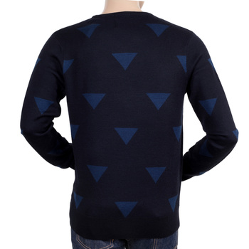 Scotch and Soda Regular Fit Navy Wool Mix Knitted Jumper with Royal Blue Diamond Jacquard Pattern SCOT5564