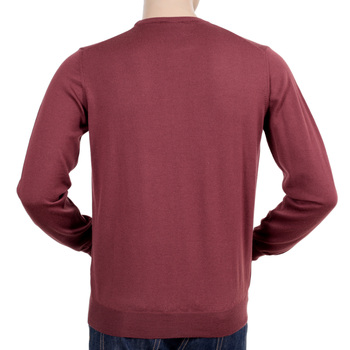 Terracotta Regular Fit Woollen Crew Neck Knitwear from Armani Collezioni with Embossed Logo Tab GAM5095