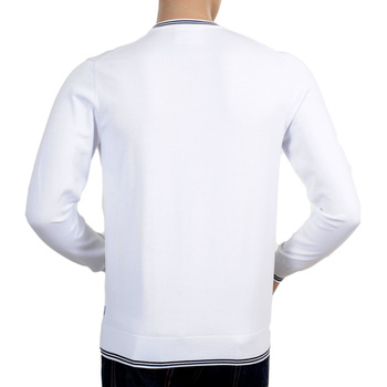 Armani Jeans Full Sleeve V Neck Regular Fit White Knitted Sweater with a Signature Applique Chest Logo AJM5978