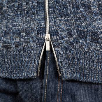 Wool and Cotton Mix Full Sleeve High Neck Zip Up Cardigan in Blue with Woven Logo Tab by Armani Jeans AJM5129