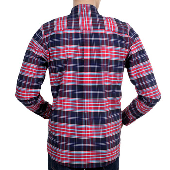 Carhartt Long Sleeve Cornel Lavitt Check Regular Fit Cotton Shirt in Red and Blue with Single Pocket CARH4964