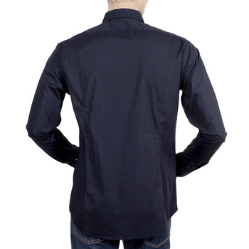 Scotch and Soda Dark Navy Slim Fit Stretch Cotton Long Sleeve Shirt with Rounded Tail and Soft Collar SCOT5570