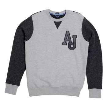 Armani Jeans Grey Crew Neck Sweatshirt with Knitted Back and Sleeves in Darker Grey and Chest Logo AJM5141