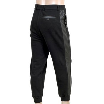 Armani Jeans Track Pants in Black with 2 Front Pockets, 1 Back Pocket, Zip Fly and Pleather Logo AJM5144
