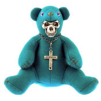 Yoropiko x Unlimitedsifr Limited Edition Teal Blue Teddy RQA11052 With Metal Skull Mask For Toy Collectors REDM0471a