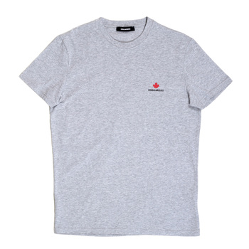 Mens Regular Fit Grey Cotton Crewneck Short Sleeve T-Shirt by Dsquared2 with Maple Leaf Chest Logo DS26292