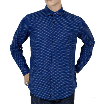 Armani Extra Slim Fit Blue Cotton Long Sleeve Shirt with Small Soft Collar and White Polka Dots AJM5991