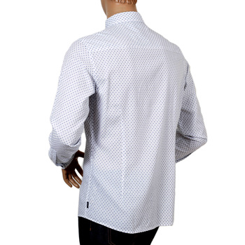 Armani Jeans White Woven Cotton Extra Slim Fit Casual Long Sleeve Shirt for Men with Blue Polka Dots AJM5992
