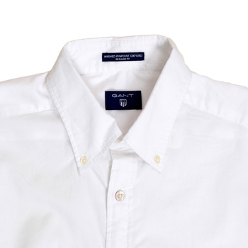 Gant White Regular Fit Long Sleeve Washed Pinpoint Oxford Shirt for Men with Button Down Collar GANT6199