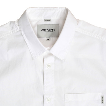 Carhartt Short Sleeve White Wesley Cotton Shirt for Men in Regular Fit with Button Down Collar CARH6306