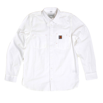 Carhartt Cotton Wax Rinsed White States Long Sleeve Slim Fit Shirt for Men with Two Chest Pockets CARH6303