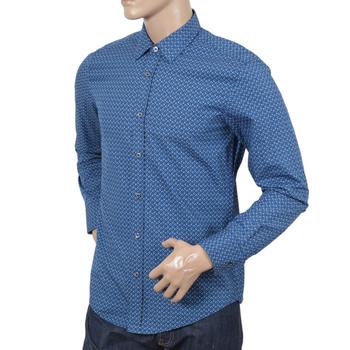 Slim Fit Long Sleeve Blue Ronny Boss Black Shirt for Men with Diamond Jacquard Pattern BOSS5021