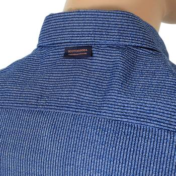 Mens Scotch and Soda Striped Blue Long Sleeve Woven Soft Cotton Slim Fit Shirt with Darted Back SCOT6781