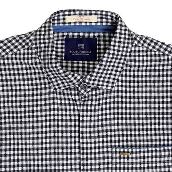 Scotch and Soda Black and White Semi Dogtooth Checked Regular Fit Long Sleeve Shirt for Men SCOT6784
