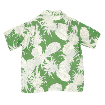Sun Surf Green Short Sleeve Regular Fit Hawaiian Shirt for Men with Grey Island Pineapple Print SURF7531