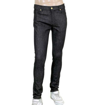 Moschino Slimmer Fit Washed Stretch Jeans in Black with Gold Logo Print on Back MOSM5335