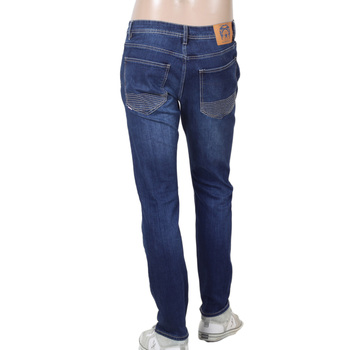 Mens Washed Dark Blue Stretch Cotton Mix RPQ16135 Slim Fit Jeans with Button Fly by RMC Jeans RMC7523