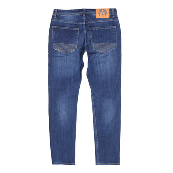 Mens Stretch Cotton Mix RPQ16135 Slim Fit Jeans in Washed Mid Blue with Button Fly by RMC Jeans RMC7522