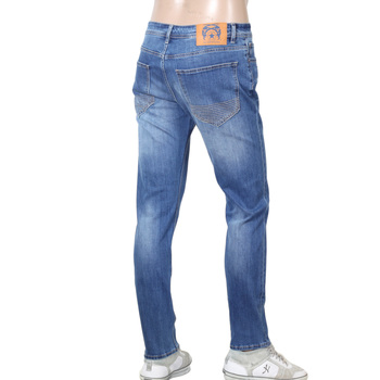 Mens Stretch Cotton Mix RPQ16135 Slim Fit Jeans in Washed Light Blue with Button Fly by RMC Red Monkey RMC7521