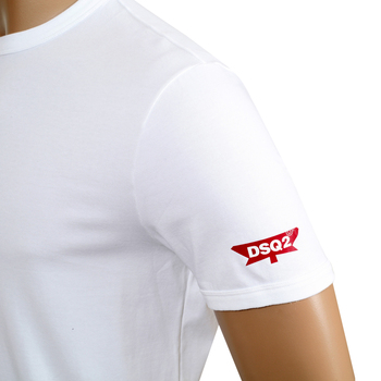 Dsquared2 Red Sleeve Logo Printed White Short Sleeve Slim Fit Crew Neck T-Shirt for Men DSQ28345