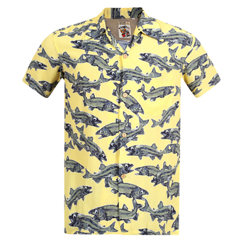 Sun Surf Keoni of Hawaii Regular fit Limited Edition SS37463 Yellow Hawaiian Shirt with Wooden Buttons for Men SURF7567