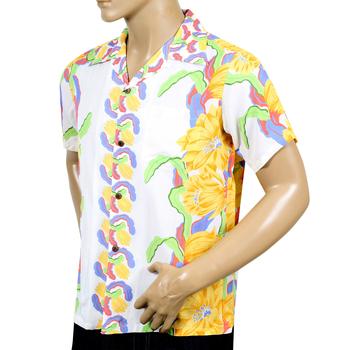SUN SURF Mens Regular Fit Short Sleeve SS33876 White Hawaiian Shirt with Night Blooming Cereus Border SURF7568