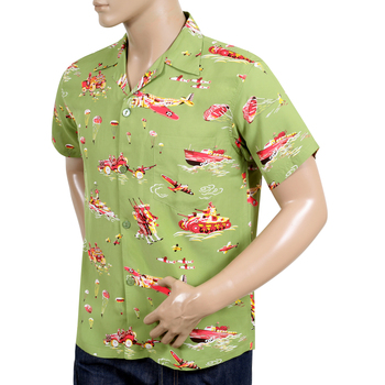 Sun Surf Special Edition SS37576 Olive Hawaiian Shirt for Men with Oahu History of Troops Print SURF7538