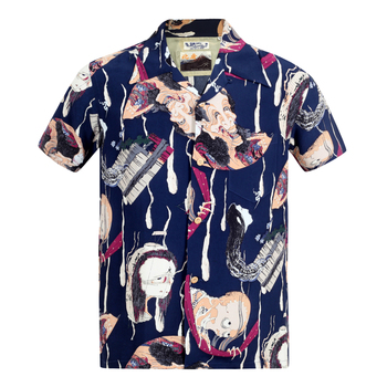 Sun Surf Regular Fit Navy Rayon SS37653 Special Edition Mens Hawaiian Shirt with One Hundred Ghost Tales Print SURF7543