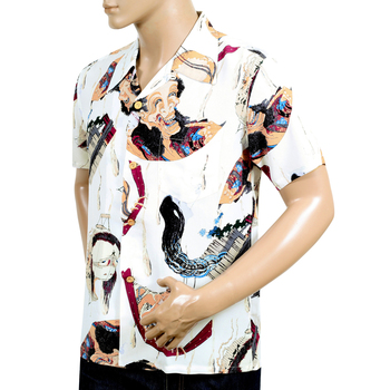 Sun Surf Regular Fit Off White Rayon SS37653 Special Edition Hawaiian Shirt with One Hundred Ghost Tales Print SURF7542