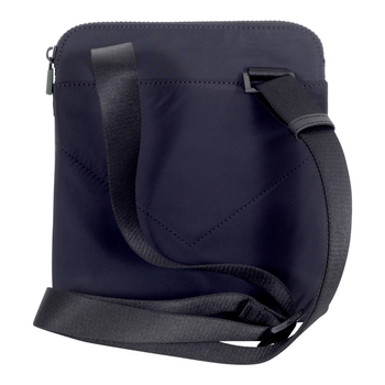Nylon Finished Emporio Armani Jacquard Logo Front Black Messenger Bag with Inner Mobile Phone Pouch EAM8614