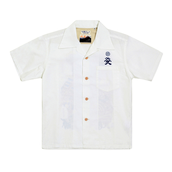 Sun Surf Limited Edition Musha-E Drawing Print SS37652 Regular Fit Short Sleeved Off White Cotton Hawaiian Shirt SURF7540