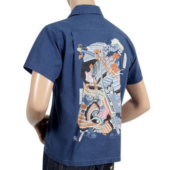 Sun Surf Limited Edition Musha-E Drawing Print SS37652 Regular Fit Short Sleeved Navy Cotton Hawaiian Shirt SURF7541
