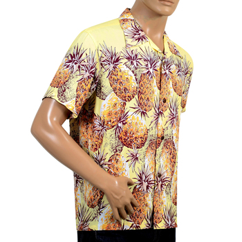 Sun Surf Mens Regular Fit Short Sleeved Pineapple Printed SS36441 Yellow Rayon Hawaiian Shirt SURF7569