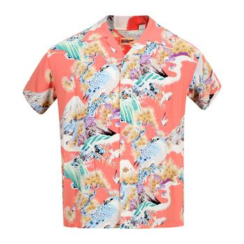 Sun Surf Mens Regular Fit Short Sleeved Hawk Print SS37786 Rayon Red Hawaiian Shirt SURF8592