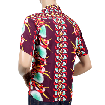 Sun Surf Mens Regular Fit Short Sleeved Aloha Bombax Tree Print SS37793 Wine Rayon Hawaiian Shirt SURF7571